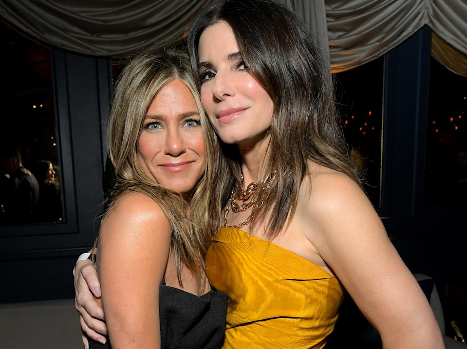 LOS ANGELES, CALIFORNIA - JANUARY 05: Jennifer Aniston and Sandra Bullock attend the Netflix 2020 Golden Globes After Party on January 05, 2020 in Los Angeles, California. (Photo by Charley Gallay/Getty Images for Netflix)