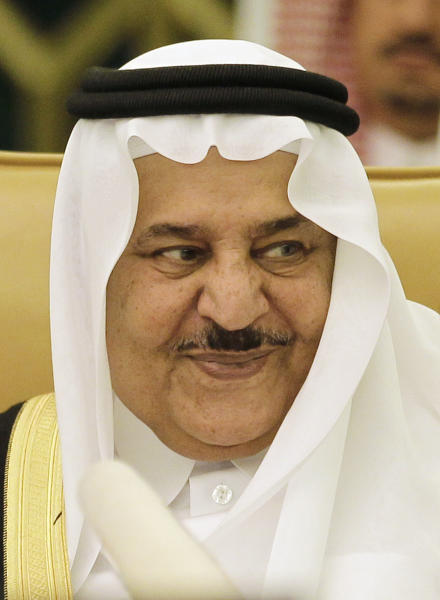 """FILE - In this Wednesday, May 2, 2012 file photo, Saudi's Crown Prince - Interior minister Nayef bin Abdul-Aziz attends the Interior ministers of the Gulf Cooperation Council """"GCC"""" during their meeting in Riyadh, Saudi Arabia. The Saudi royal family said Saturday, June 16, 2012 that Crown Prince Nayef has died. He was in his late 70s. Nayef was the hard-line interior minister who spearheaded Saudi Arabia's fierce crackdown crushing al-Qaida's branch in the country and then rose to become next in line to the throne. (AP Photo/Hassan Ammar, File)"""