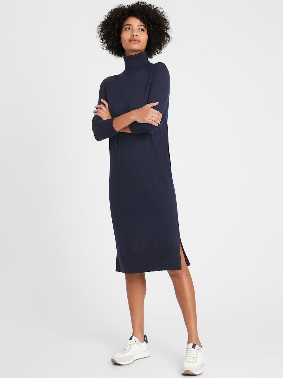 <p>There are so many ways to style this <span>Washable Merino Turtleneck Sweater Dress</span> ($97, originally $139).</p>