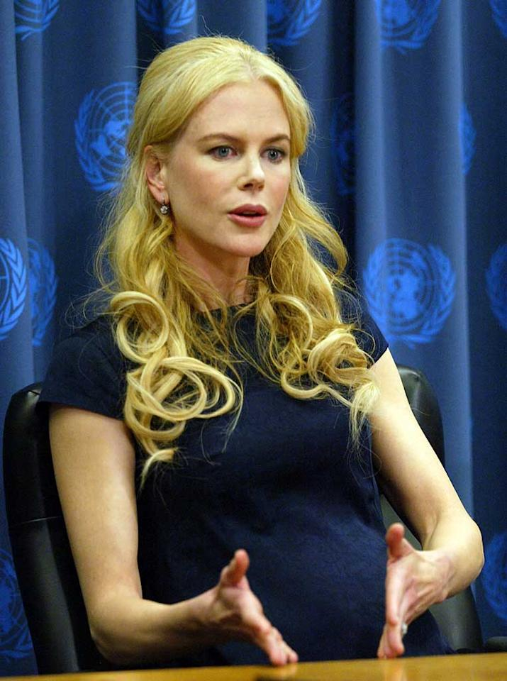 """Another expectant mother - Nicole Kidman - made a very public appearance last week. The actress urged world leaders to stop violence against women at U.N. headquarters on Tuesday. ST/<a href=""""http://www.splashnewsonline.com"""" target=""""new"""">Splash News</a> - April 22, 2008"""