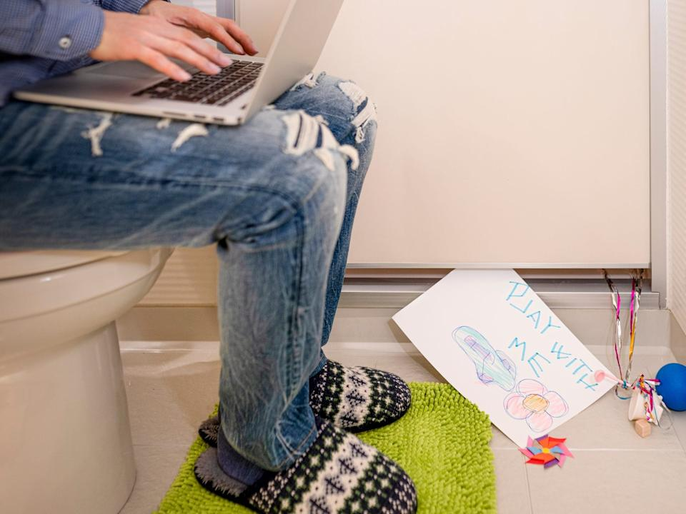 work from home laptop bathroom