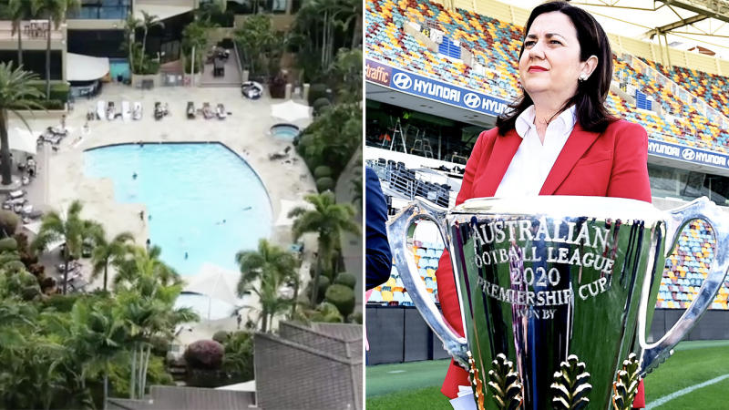 Queensland Premier Annastacia Palaszczuk (pictured right) taking a photo in front of the AFL trophy and an image of a pool.