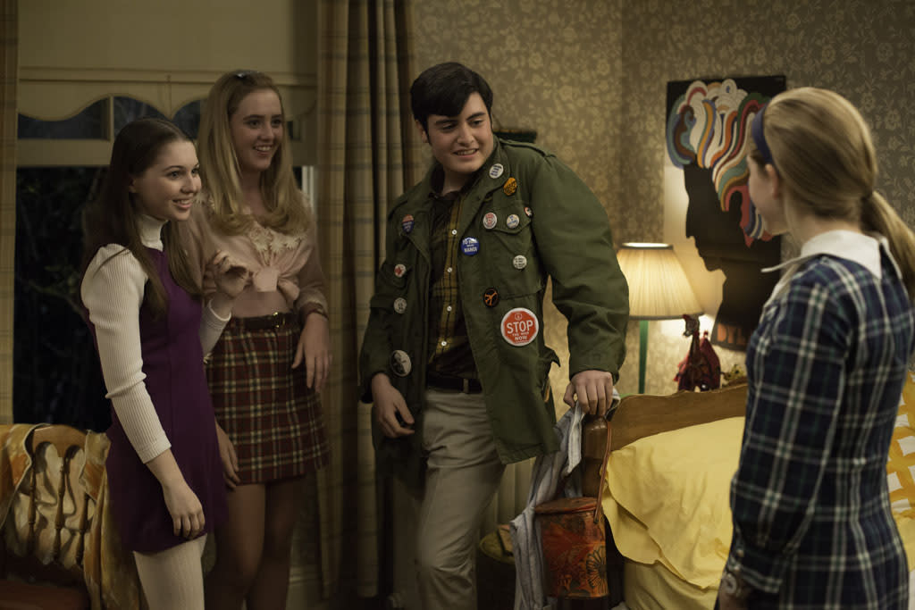 Millicent (Sammi Hanratty), Mandy (Kathryn Love Newton), Glen Bishop (Maren Hoden Weiner) and Sally Draper (Kiernan Shipka) - Mad Men _ Season 6, Episode 12 _ 'The Quality of Mercy' - Photo Credit: Jordin Althaus/AMC