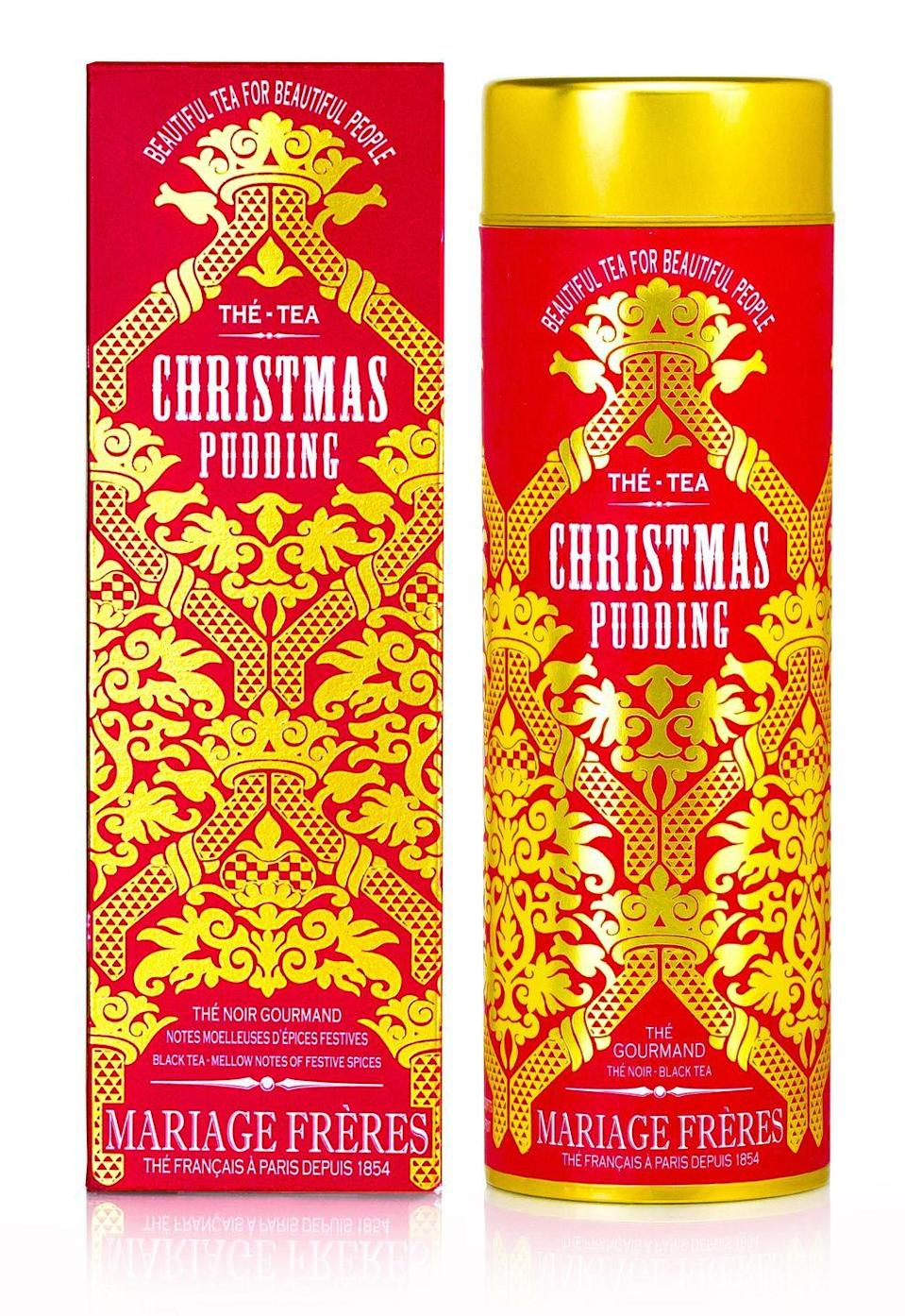 """<p><a class=""""link rapid-noclick-resp"""" href=""""https://www.mariagefreres.com/UK/2-christmas-pudding-black-flavoured-tea-TE9216.html"""" rel=""""nofollow noopener"""" target=""""_blank"""" data-ylk=""""slk:SHOP NOW"""">SHOP NOW</a></p><p>What's better than a Christmas pudding? One you can justify enjoying every single day – which is why we love this festive tea, with its flavours of cinnamon, nutmeg, candied orange, cherry and vanilla.</p><p>Christmas Pudding tea, about £23, Mariage Frères</p>"""