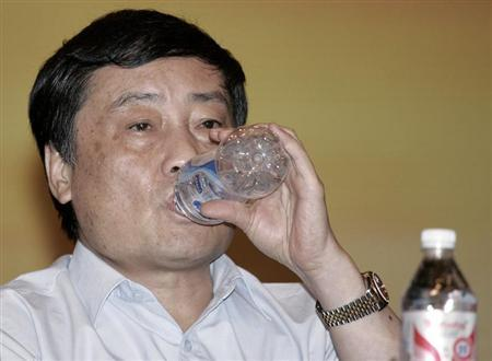 Zong Qinghou, chairman of Wahaha Group, attends a news conference in Hangzhou
