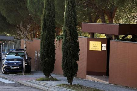 FILE PHOTO: A Spanish National Police car is seen outside the North Korea's embassy in Madrid