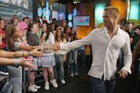 "<p>Brad Pitt's time on <em>TRL</em> was spent in the exact way you'd expect: with a hoard of fans clutching him. (Shout-out to the girl in the homemade ""I </p>"