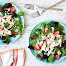 <p>In this healthy copycat of a takeout salad favorite we combine precooked (or leftover) chicken and poppy seed dressing with fresh greens, strawberries and goat cheese for an easy throw-together meal that's ready in 10 minutes.</p>