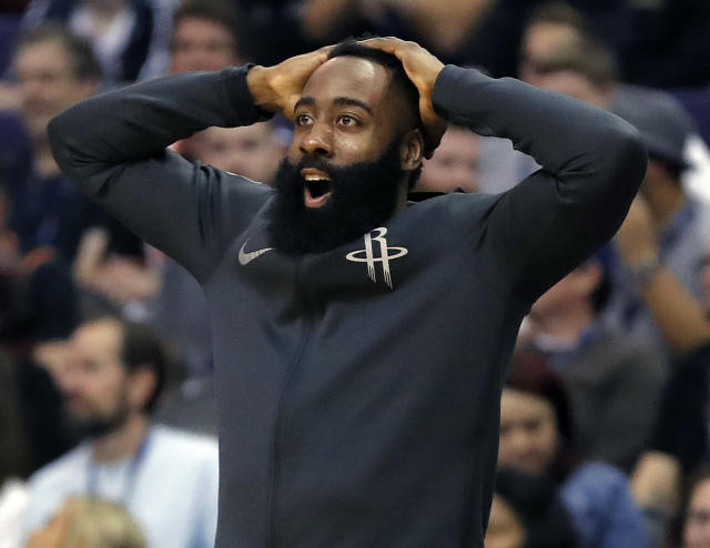 "<a class=""link rapid-noclick-resp"" href=""/nba/teams/hou/"" data-ylk=""slk:Houston Rockets"">Houston Rockets</a> guard James Harden has missed seven games with a hamstring strain. (AP)"