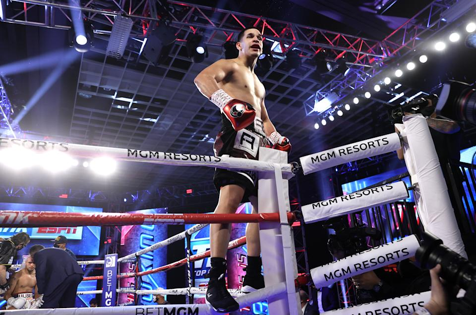 LAS VEGAS, NV - DECEMBER 12: Edgar Berlanga celebrates his victory over Ulises Sierra at the MGM Grand Conference Center on December 12, 2020 in Las Vegas, Nevada. (Photo by Mikey Williams/Top Rank Inc via Getty Images)