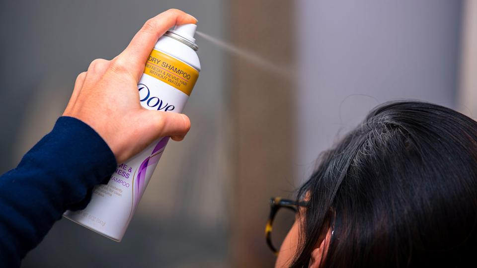 Freshen up oily hair with the Dove Refresh + Care Dry Shampoo Volume and Fullness.