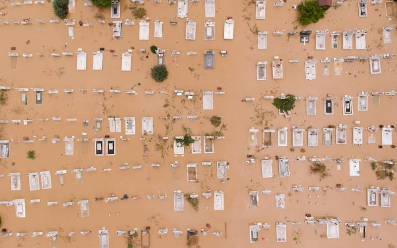 View of a flooded cemetery following a storm in the village of Artesiano, in central Greece - REUTERS