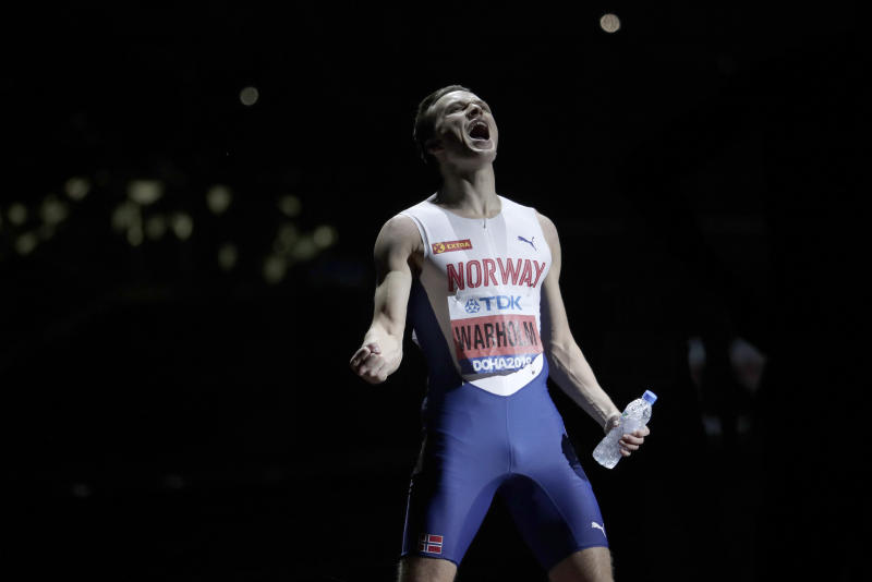 Karsten Warholm, of Norway reacts before the start of the men's 400m hurdles final at the World Athletics Championships in Doha, Qatar, Monday, Sept. 30, 2019. (AP Photo/Nariman El-Mofty)