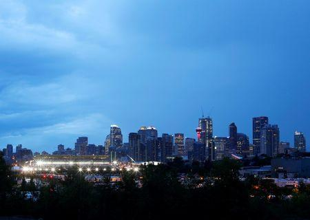 Calgary, the home of oil and gas in Canada and host to the Calgary Stampede rodeo, is pictured at dusk in Alberta, Canada July 13, 2016. REUTERS/Todd Korol