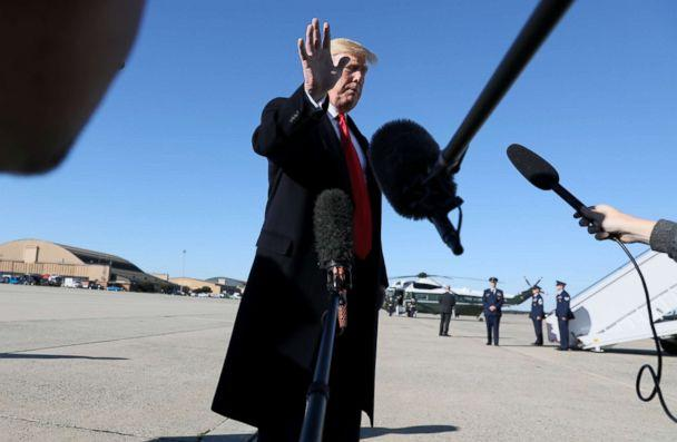 PHOTO: President Donald Trump waves off further questions as he heads to board Air Force One after talking to reporters about journalist Jamal Khashoggi's disappearance while departing for travel to Montana from Joint Base Andrews, Md., Oct. 18, 2018. (Jonathan Ernst/Reuters)