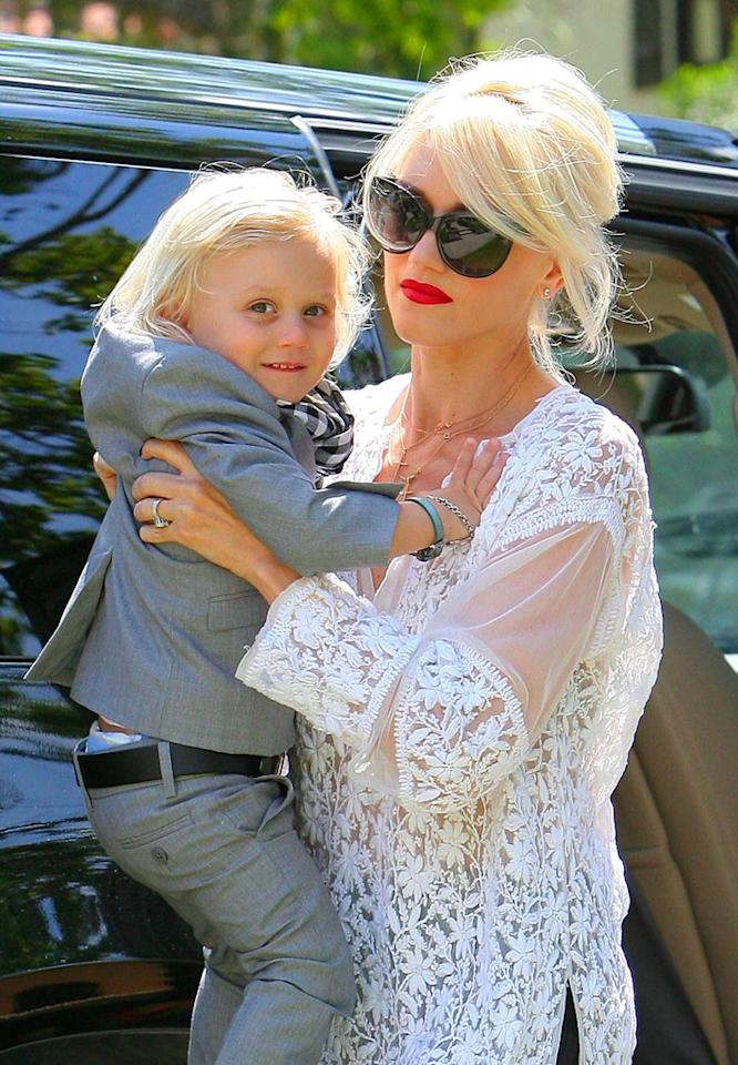 """Gwen Stefani gave her son Zuma a lift upon arriving at her parents' house in Los Angeles to celebrate Easter. How cute is Zuma in his little suit? <a href=""""http://www.infdaily.com"""" target=""""new"""">INFDaily.com</a> - April 24, 2011"""