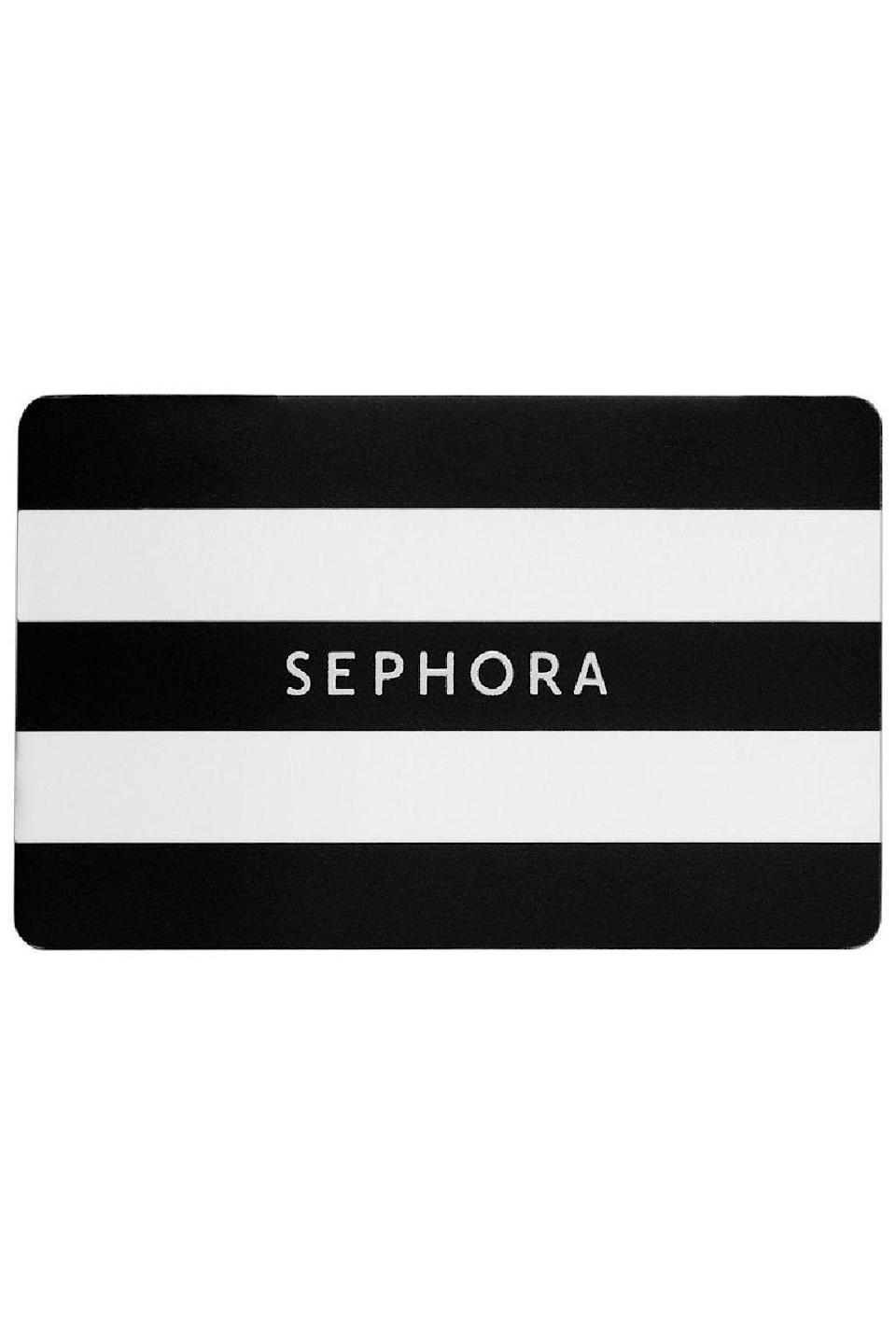 """<p><strong>SEPHORA COLLECTION</strong></p><p>sephora.com</p><p><a href=""""https://go.redirectingat.com?id=74968X1596630&url=https%3A%2F%2Fwww.sephora.com%2Fproduct%2Fgift-card-P370325&sref=https%3A%2F%2Fwww.cosmopolitan.com%2Fstyle-beauty%2Ffashion%2Fg34229001%2Fbest-gift-card-ideas-to-give%2F"""" rel=""""nofollow noopener"""" target=""""_blank"""" data-ylk=""""slk:Shop Now"""" class=""""link rapid-noclick-resp"""">Shop Now</a></p><p>Not only the makeup-obsessed would want one of these bad boys. With all the skincare, haircare, and fragrances they carry, even a makeup newbie could use a gift card to shop here.</p>"""