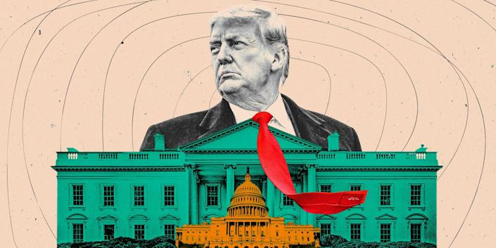 Donald Trump with his red tie flapping in the wind looming over a small green colored White House and a smaller orange colored Capitol Building on a light peach colored background.
