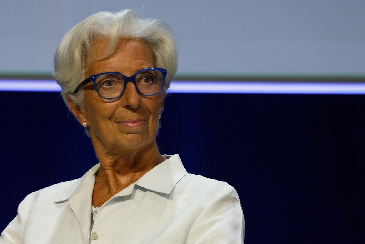 """ECB president Christine Lagarde said that the move was not """"tapering"""" but that the bank was """"recalibrating"""". Photo: Ludovic Marin/AFP via Getty Images"""