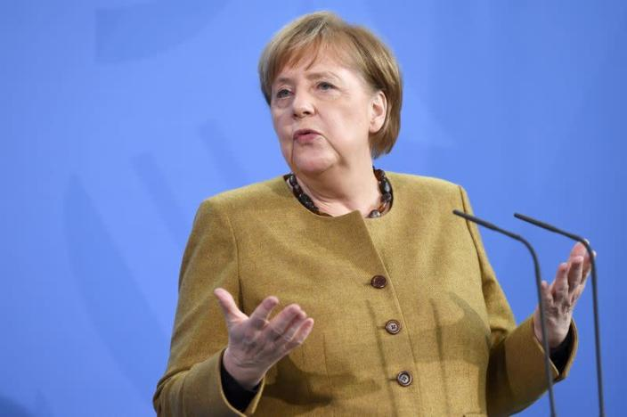 German Chancellor Merkel holds a news conference after virtual G7 summit, in Berlin