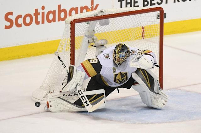 The Vegas Golden Knights again produced another fiercely determined performance, embodied by a defiant display from goaltender Marc-Andre Fleury who stopped 31 of 32 shots (AFP Photo/David Lipnowski)