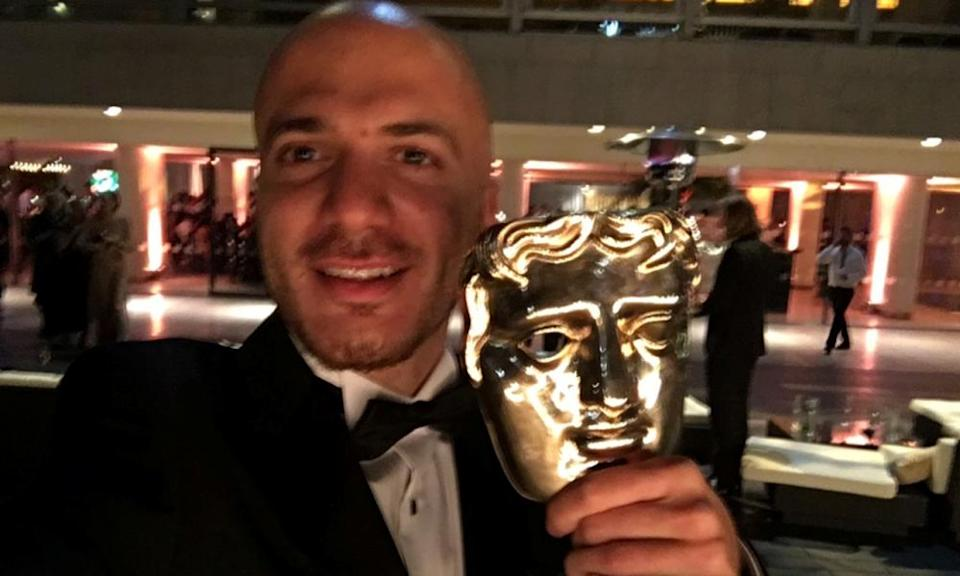 Akkad with his Bafta for Best Factual Series or Strand, for Exodus.
