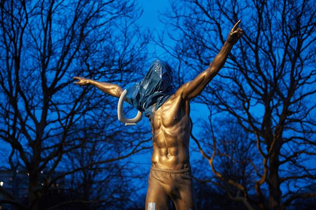 The first time the statue of Zlatan Ibrahimovic was vandalized, its head was covered in plastic and a toilet seat was placed on its arm. (Photo by ANDREAS HILLERGREN/TT News Agency/AFP via Getty Images)