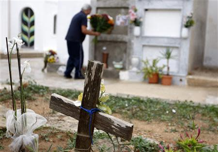 A wooden cross is seen in a cemetery in Lampedusa