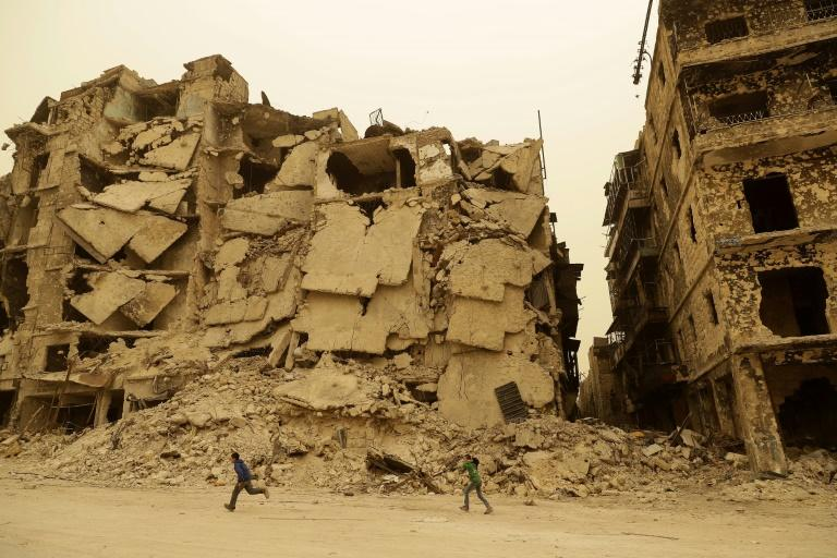 The refugee's wife and child are still living in war-wracked Aleppo