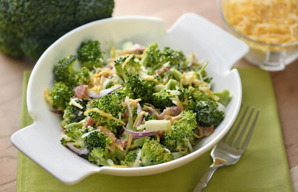 """<p>If you're not a fan of lettuce-based salads, let this <a href=""""https://www.thedailymeal.com/cook/broccoli-cheese-recipes-casseroles-soups-eggs?referrer=yahoo&category=beauty_food&include_utm=1&utm_medium=referral&utm_source=yahoo&utm_campaign=feed"""" rel=""""nofollow noopener"""" target=""""_blank"""" data-ylk=""""slk:broccoli, cheese and bacon"""" class=""""link rapid-noclick-resp"""">broccoli, cheese and bacon</a> salad be your newest obsession. The broccoli florets add a nice crunch while the bacon, cheese and mayonnaise-based salad dressing add a little fattiness and flavor.</p> <p><a href=""""https://www.thedailymeal.com/recipes/broccoli-and-bacon-salad-recipe-0?referrer=yahoo&category=beauty_food&include_utm=1&utm_medium=referral&utm_source=yahoo&utm_campaign=feed"""" rel=""""nofollow noopener"""" target=""""_blank"""" data-ylk=""""slk:For the Broccoli and Bacon Salad recipe, click here."""" class=""""link rapid-noclick-resp"""">For the Broccoli and Bacon Salad recipe, click here.</a></p>"""