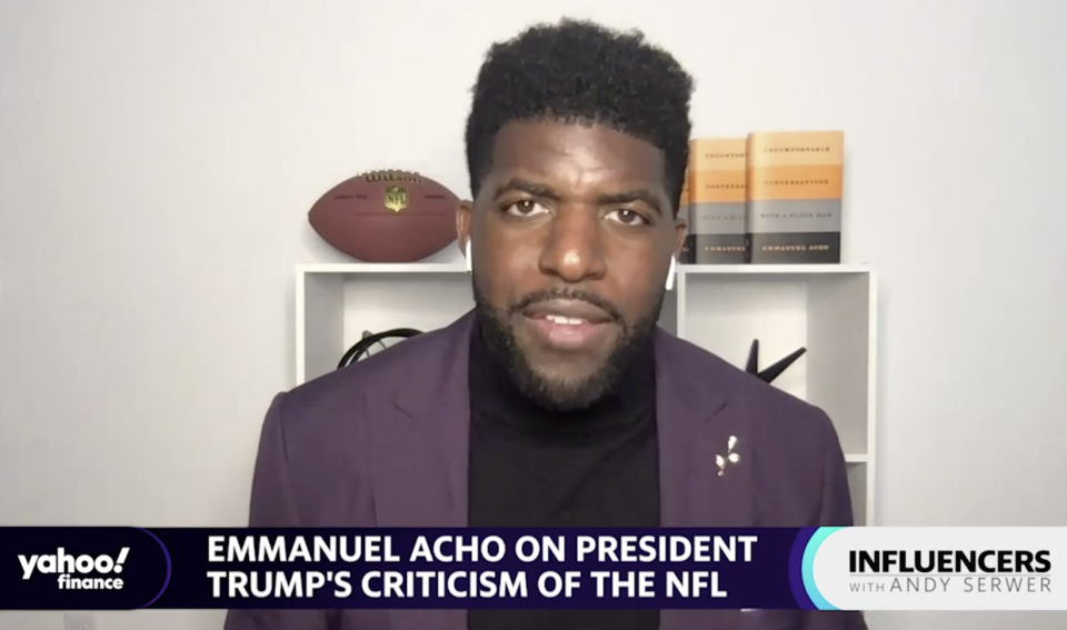 """Emmanuel Acho, a Fox Sports host and former NFL linebacker, joins """"Influencers with Andy Serwer."""""""
