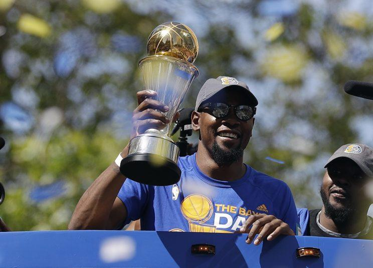 Durant is focused on a few more championship parades. (AP)