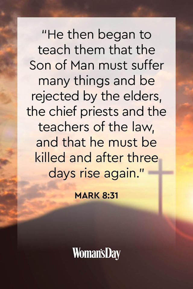 """<p>""""He then began to teach them that the Son of Man must suffer many things and be rejected by the elders, the chief priests and the teachers of the law, and that he must be killed and after three days rise again.""""</p>"""
