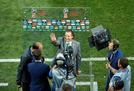 Soccer Football - World Cup - Group A - Saudi Arabia vs Egypt - Volgograd Arena, Volgograd, Russia - June 25, 2018 Saudi Arabia coach Juan Antonio Pizzi talks with the media after the match REUTERS/Jason Cairnduff