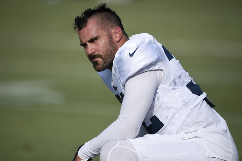 Los Angeles Rams safety Eric Weddle suffered a nasty gash on his head against Carolina. (AP)