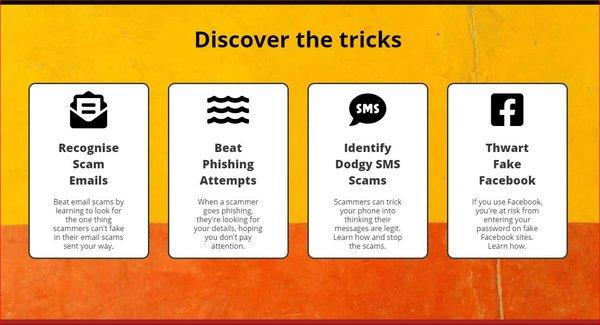 How Scams Work has 4 built-in scam simulators - SMS, email and two phishing simulators to educate and help users combat malicious activity.