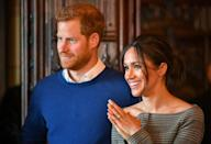 <p>As Prince Harry and Meghan Markle stepped indoors, the former actress revealed that she was wearing a checked cold-shoulder jacket by Theory beneath her Stella McCartney coat. And the plaid look referenced Princess Diana's love of check. And the cold-shoulder cut was a bold take on the beloved print.<br>Meghan finished the look with a pair of Huit Denim skinny jeans, another rule-breaking choice for the royal-to-be. <em>[Photo: Getty]</em> </p>