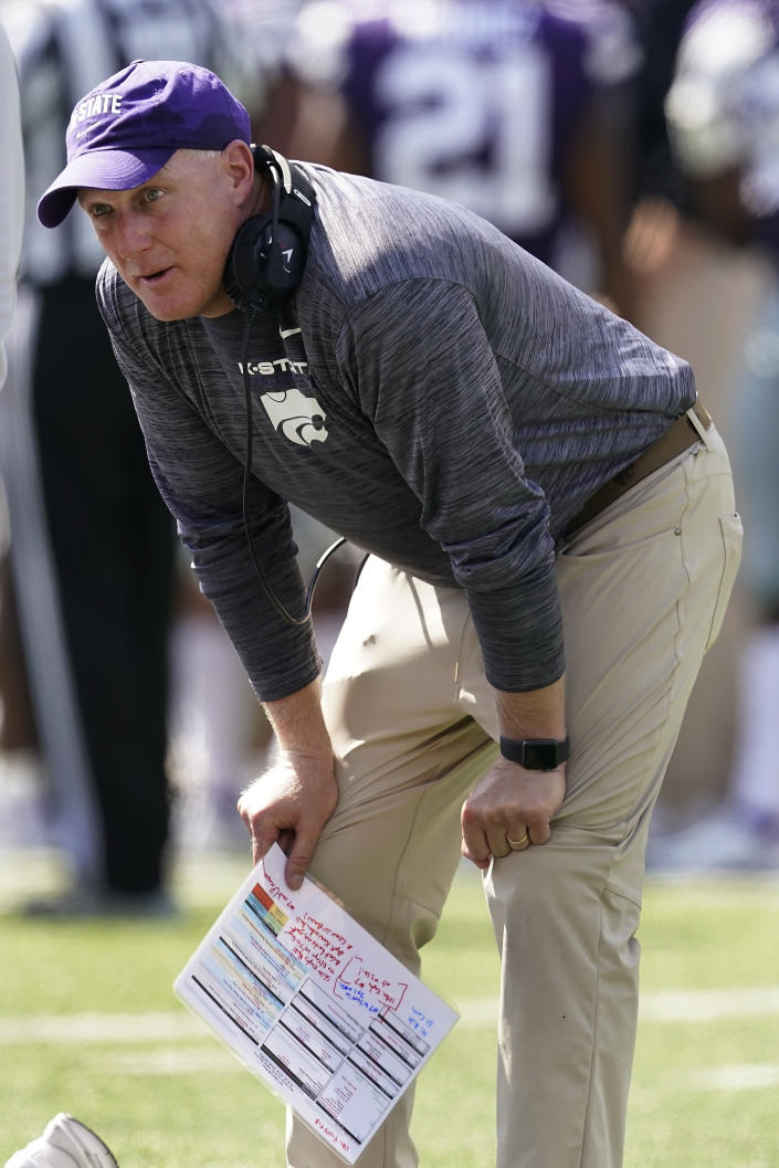 Kansas State head coach Chris Klieman watches during the first half of an NCAA college football game against Nevada on Saturday, Sept. 18, 2021, in Manhattan, Kan. (AP Photo/Charlie Riedel)