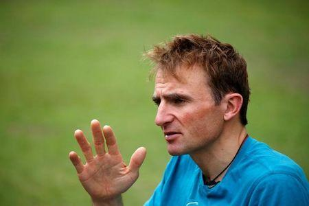 Ueli Steck, a mountaineer from Switzerland, speaks to the media during an interview at a hotel in Kathmandu