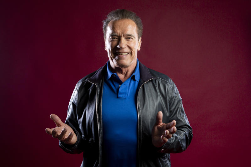 "This Oct. 26, 2019 photo shows actor Arnold Schwarzenegger posing for a portrait to promote the film, ""Terminator: Dark Fate"" at the Four Seasons Hotel Los Angeles at Beverly Hills in Los Angeles. (Photo by Willy Sanjuan/Invision/AP)"