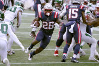 New England Patriots running back Sony Michel carries the ball against the New York Jets in the first half of an NFL football game, Sunday, Jan. 3, 2021, in Foxborough, Mass. (AP Photo/Elise Amendola)