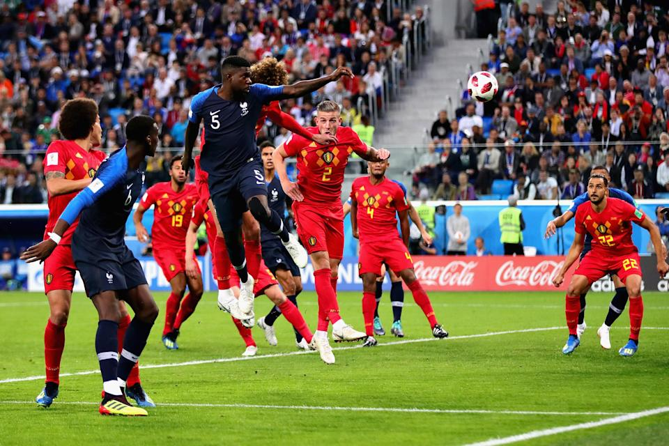 Samuel Umtiti of France scores his sides first goal during the 2018 FIFA World Cup Russia Semi Final match between Belgium and France at Saint Petersburg Stadium on July 10, 2018 in Saint Petersburg, Russia. (Getty Images)
