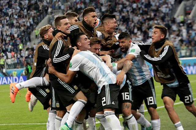 """Soccer Football - World Cup - Group D - Nigeria vs Argentina - Saint Petersburg Stadium, Saint Petersburg, Russia - June 26, 2018 Argentina's Marcos Rojo celebrates scoring their second goal with team mates REUTERS/Henry Romero TPX IMAGES OF THE DAY. SEARCH """"FIFA BEST"""" FOR ALL PICTURES. TPX IMAGES OF THE DAY"""