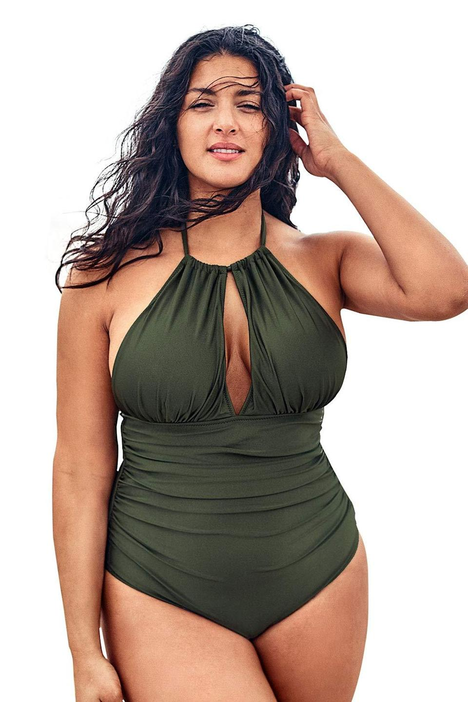 """<strong><em>Cupshe Keyhole Halter Swimsuit</em></strong><br><br>This plus-size number is simple and stunning, with flattering shirring and a keyhole neckline for maximum va-va-voom. """"As a plus-size woman it can be hard to find a suit that fits,"""" wrote reviewer Samantha. """"I'm 300 lbs and have a 44H bra size. It's not super supportive but it still works well. The cups are removable thru a little hole on the inside so if you want to take them out and possibly replace them that's totally an option.""""<br><br><strong>Cupshe</strong> Keyhole Halter Swimsuit, $, available at <a href=""""https://amzn.to/3hwiyr9"""" rel=""""nofollow noopener"""" target=""""_blank"""" data-ylk=""""slk:Amazon"""" class=""""link rapid-noclick-resp"""">Amazon</a>"""
