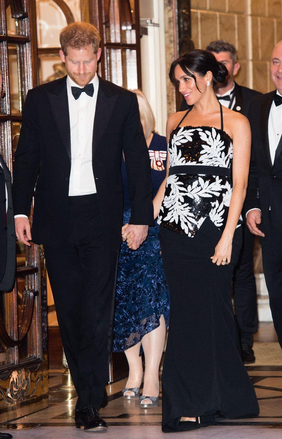 <p>Harry and Meghan looked sharp in black tie as they attended the Royal Variety Performance at London Palladium. </p>