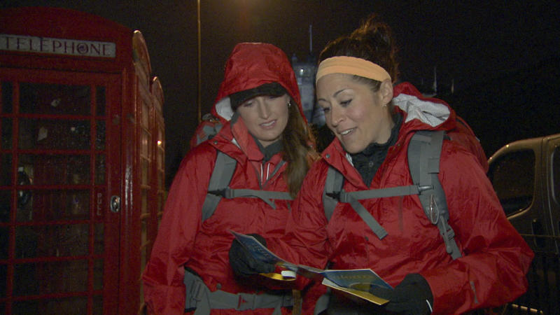 """Beacon of Hope"" -- At the Pit Start, Roller Derby moms Mona (left) and Beth (right) must make their way by train to Southern Scotland where they will board a ferry and cross the Irish Sea to Belfast, Ireland on the 22nd season finale of ""The Amazing Race."""