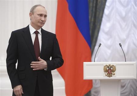 Russian President Putin takes part in a state awards ceremony in Moscow's Kremlin