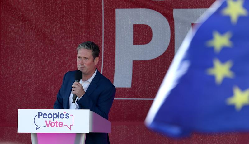 Shadow Brexit Secretary Sir Keir Starmer speaks at the Anti-Brexit 'Trust the People' march and rally held by the People�s Vote campaign during the Labour Party Conference in Brighton.