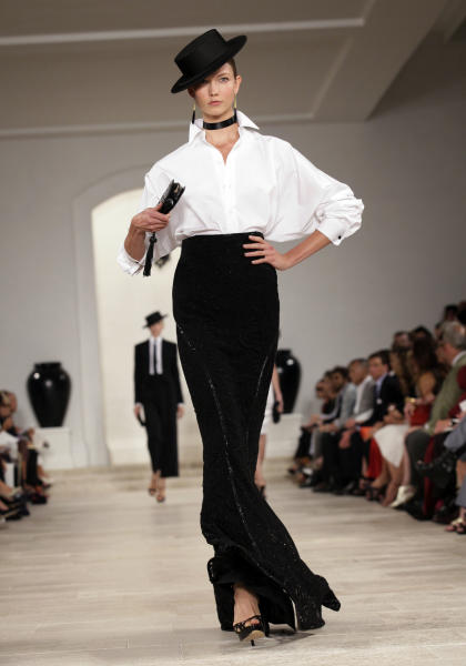 The Ralph Lauren Spring 2013 collection is modeled during Fashion Week in New York, Thursday, Sept. 13, 2012. (AP Photo/Richard Drew)