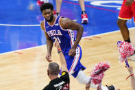 Philadelphia 76ers' Joel Embiid reacts after making a basket during the second half of Game 5 in a second-round NBA basketball playoff series against the Atlanta Hawks, Wednesday, June 16, 2021, in Philadelphia. (AP Photo/Matt Slocum)